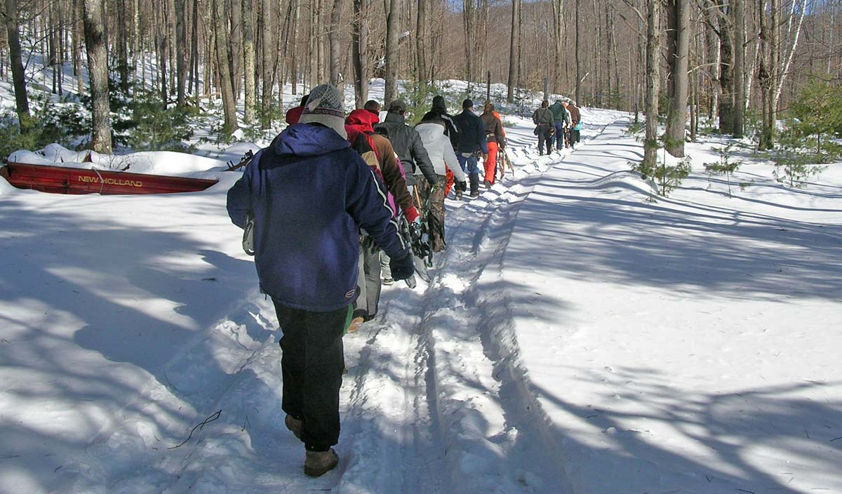 Group of people touring sugarbush